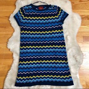 Missoni Zig-Zag Blue Multicolor Sweater Dress